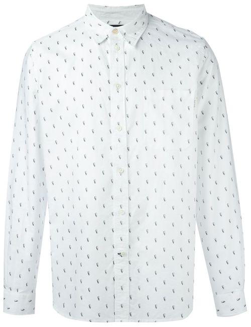 Paul Smith Jeans   Мужская Белая Рубашка С Мелким Принтом