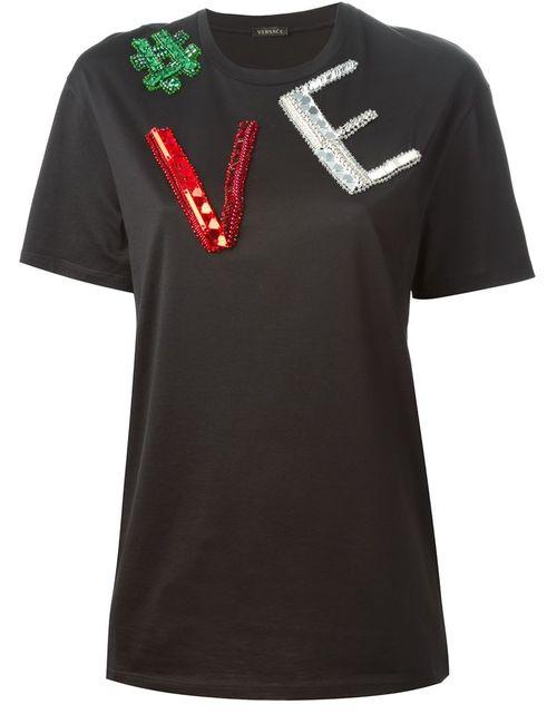 Versace | Женская Чёрная Футболка С Аппликацией Логотипа