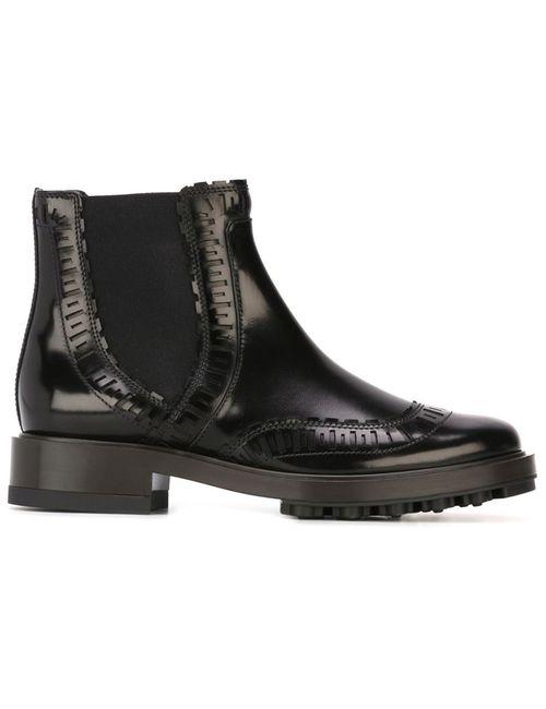 Tod'S | Женские Чёрные Ботинки С Эластичными Вставками