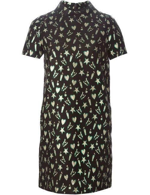 MSGM | Женское Чёрное Платье Шифт С Вышивкой
