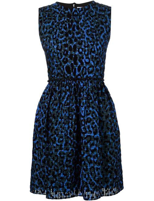 Victoria, Victoria Beckham | Женское Синее Расклешенное Платье С Леопардовым Принтом