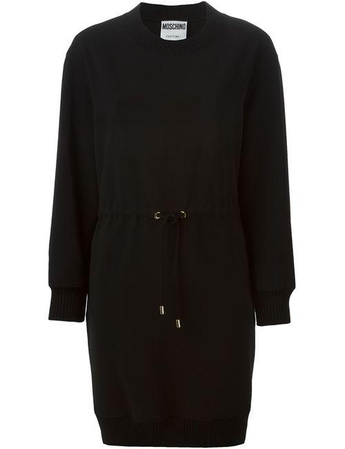 Moschino | Женское Чёрное Платье-Свитер С Завязками На Талии