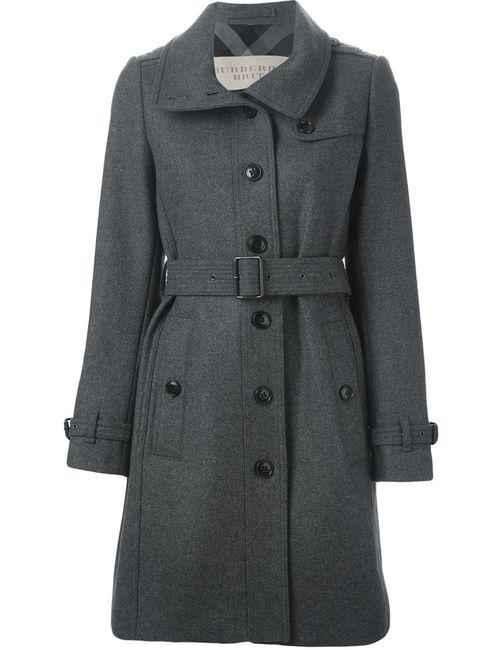 Burberry Brit | Женское Серое Однобортное Пальто С Поясом