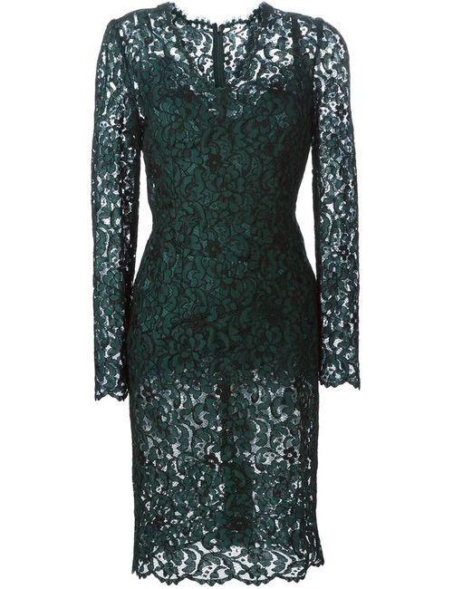 Dolce & Gabbana   Женское Зелёное Платье Миди С Цветочным Кружевом