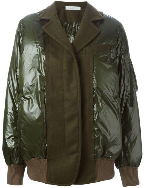 Sacai Luck   Женская Зелёная Дутая Куртка С Панельным Дизайном