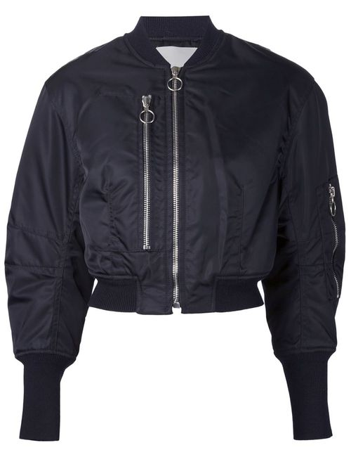 3.1 Phillip Lim | Женская Чёрная Укороченная Куртка-Бомбер