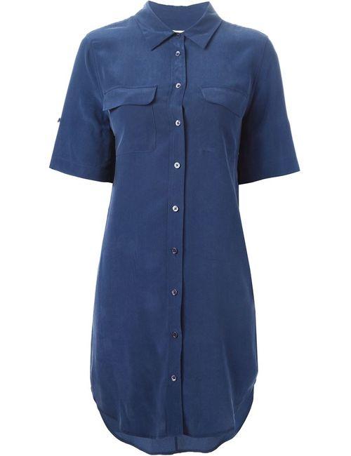 Equipment | Женская Синяя Длинная Рубашка С Короткими Рукавами
