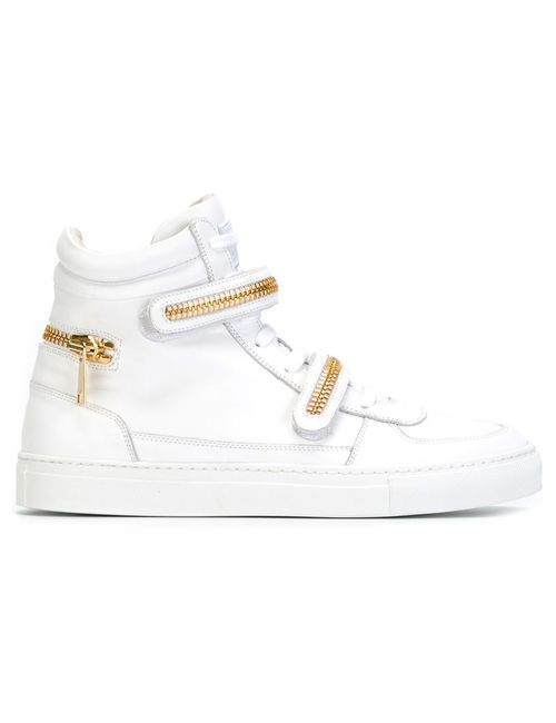 Louis Leeman | Мужское Белый Zipped Details Hi-Top Sneakers