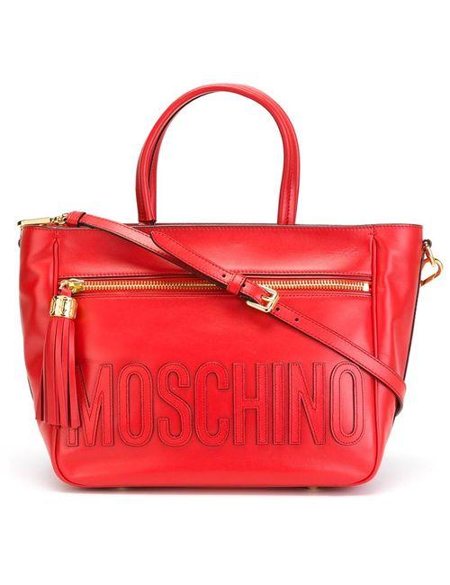 Moschino | Женская Красная Сумка-Тоут С Простроченным Логотипом