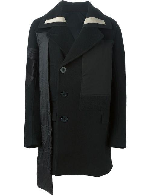 Rick Owens | Мужское Чёрное Однобортное Пальто С Панельным Дизайном