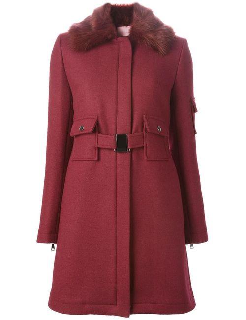 GIAMBA | Женское Красное Пальто С Воротником Из Искусственного Меха