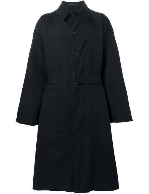 Yohji Yamamoto | Мужское Чёрное Объемное Пальто С Поясом