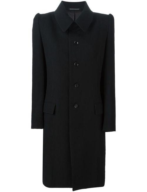 Yohji Yamamoto   Женское Чёрное Пальто С Фактурными Плечиками