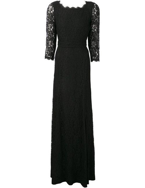 Diane Von Furstenberg | Женское Чёрное Вечернее Платье С Кружевными Рукавами Zarita