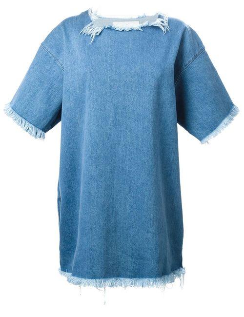 Marques Almeida | Женское Синее Джинсовое Платье-Футболка С Необработанными Краями