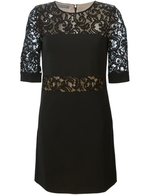 Alberta Ferretti | Женское Чёрное Платье Шифт С Кружевными Деталями