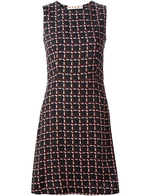 Marni | Женское Чёрное Платье Без Рукавов С Принтом