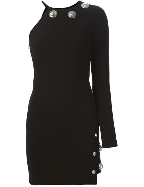 Versus | Женское Чёрное Декорированное Платье На Одно Плечо