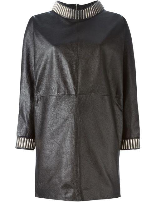 Saint Laurent | Женское Чёрное Платье С Декорированными Манжетами И Воротником