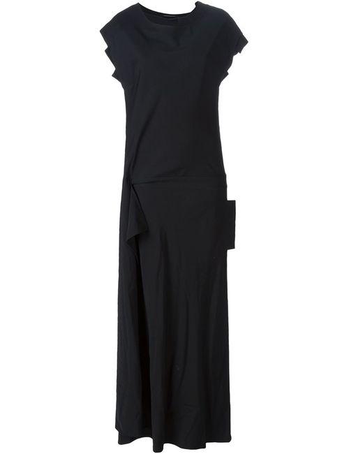 Yohji Yamamoto | Женское Чёрное Драпированное Платье