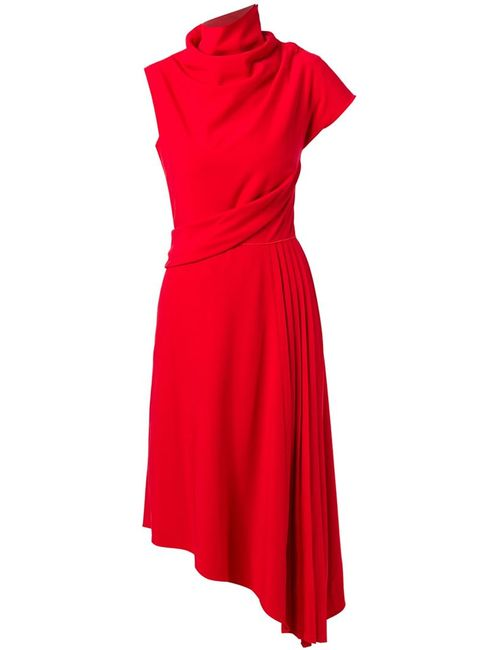 Carven | Женское Красное Плиссированное Платье Асимметричного Кроя