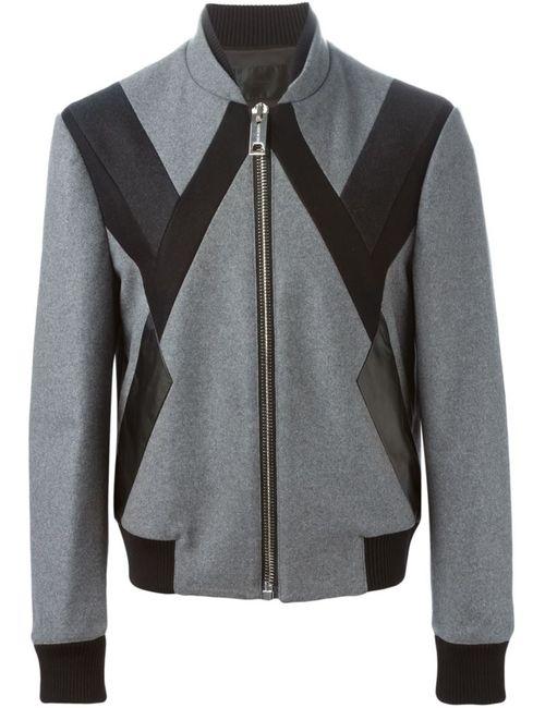 Les Hommes   Мужская Серая Спортивная Куртка С Панельным Дизайном