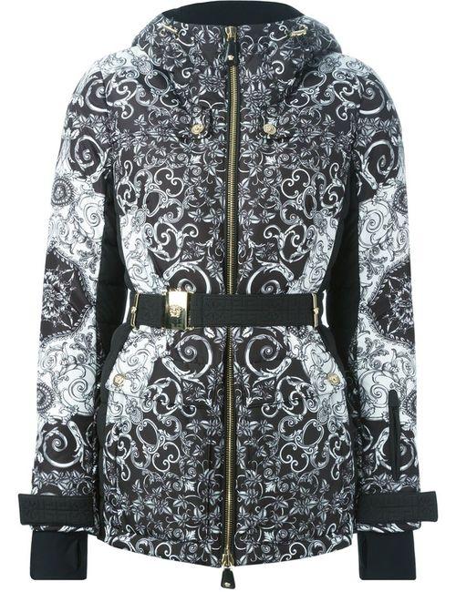 Versace | Женская Чёрная Дутая Куртка С Узором Барокко