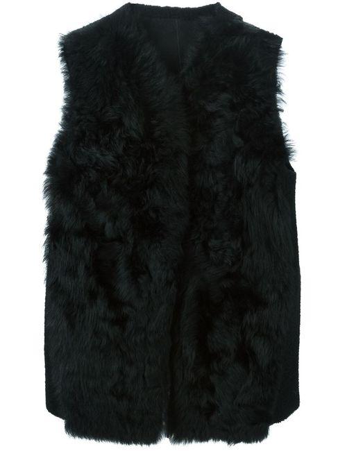 Ann Demeulemeester | Женский Чёрный Меховой Жилет Из Овчины