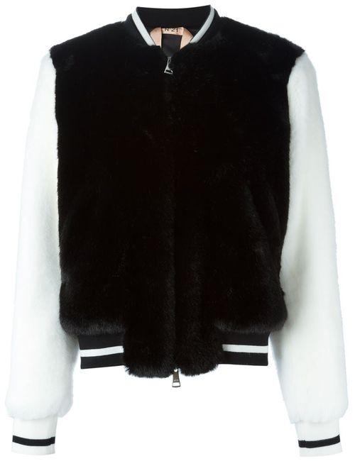 No21 | Женская Черный Университетская Куртка Из Искусственного Меха
