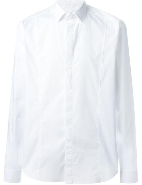 Les Hommes   Мужская Белая Классическая Рубашка