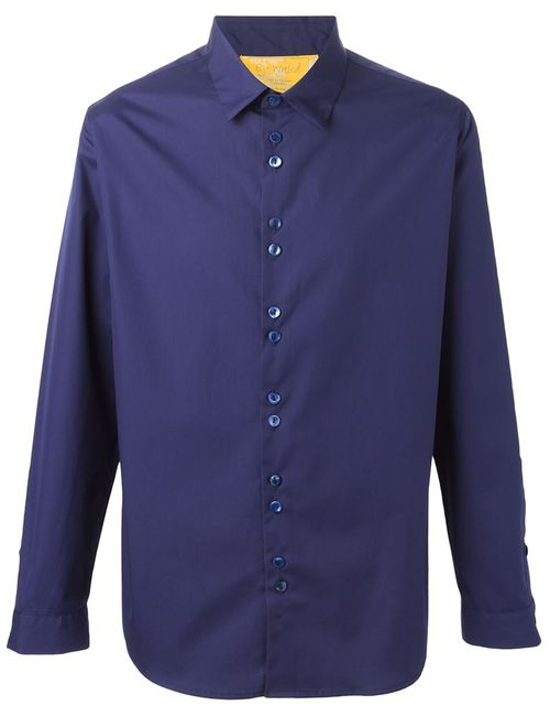 BY WALID | Мужская Синяя Рубашка С Двойными Пуговицами