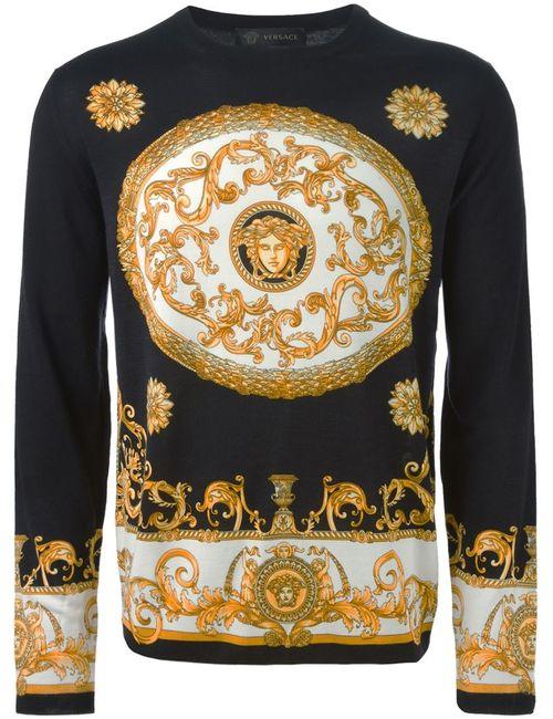Versace   Мужской Чёрный Свитер С Узором Барокко