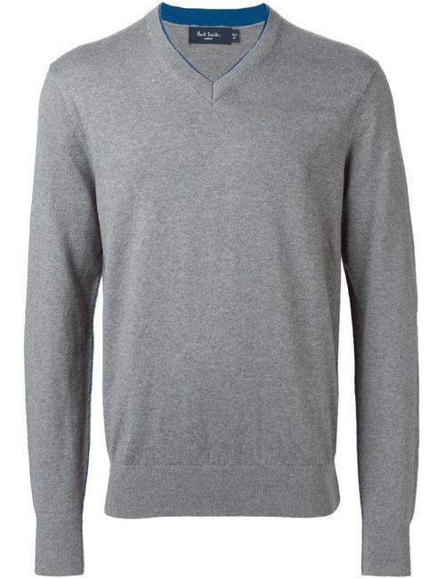 Paul Smith Jeans | Мужской Серый Свитер C V-Образным Вырезом