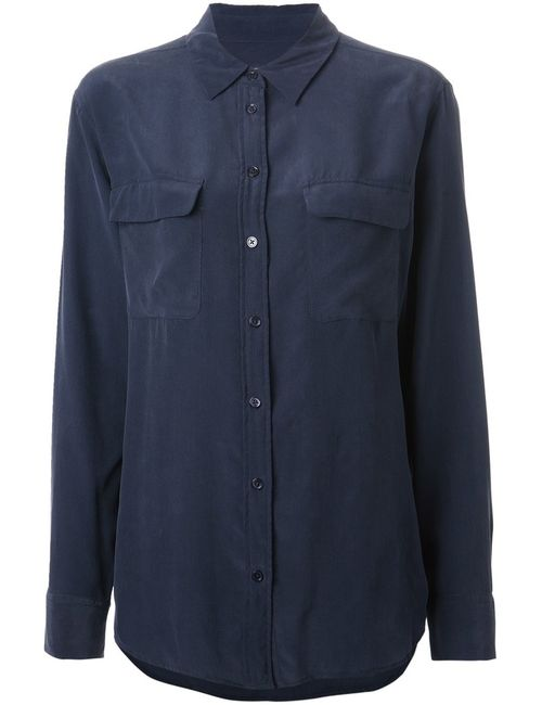 Equipment | Женская Синяя Классическая Рубашка