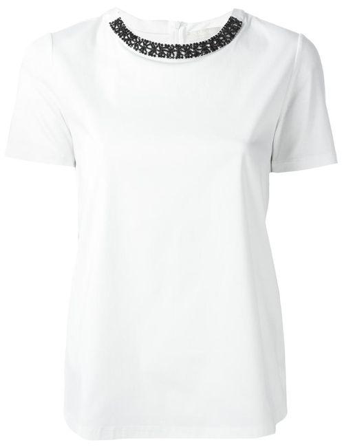 'S Max Mara | Женская Белая Декорированная Блузка Canard