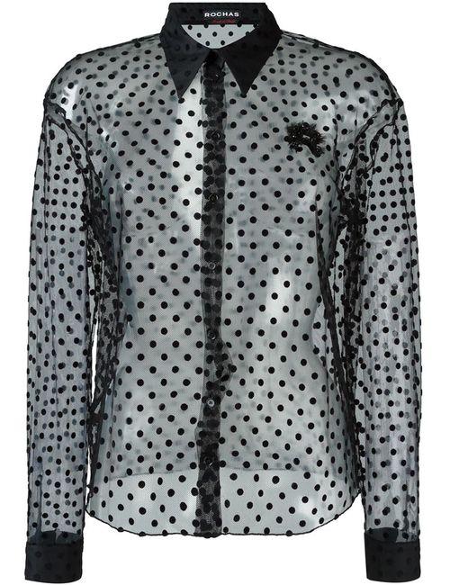 Rochas | Женская Чёрная Прозрачная Рубашка В Горошек