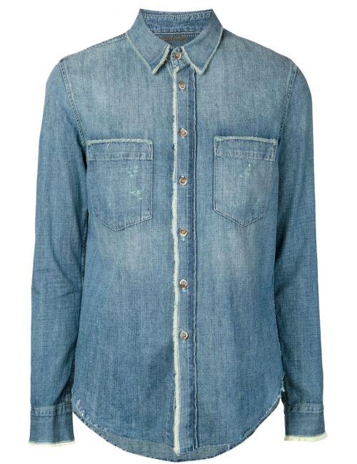 Mother | Женская Синяя Джинсовая Рубашка С Необработанными Краями