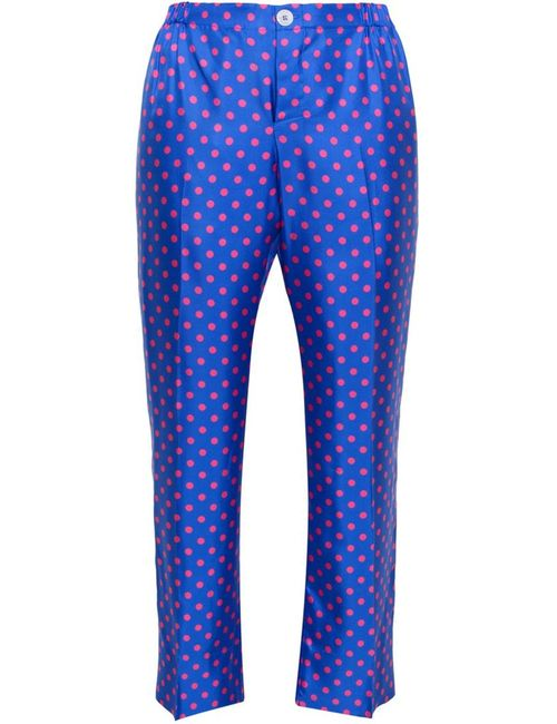 FOR RESTLESS SLEEPERS | Женское Синий Polka Dot Silk Pyjama Trousers
