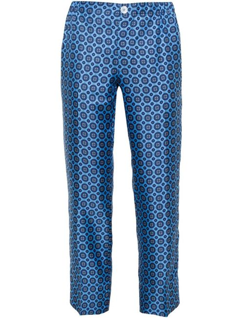 FOR RESTLESS SLEEPERS | Женское Синий Medallion Print Silk Pyjama Trousers