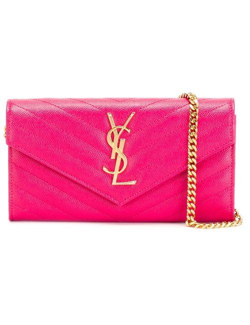 Saint Laurent | Женская Розовая Сумка-Клатч Monogram