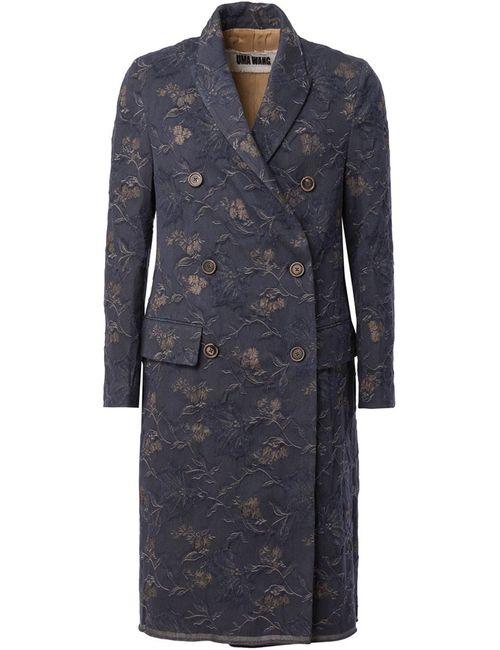 UMA WANG | Мужское Синее Пальто С Цветочным Принтом