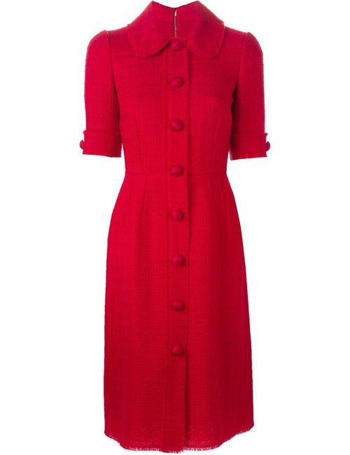 Dolce & Gabbana | Женское Красное Твидовое Платье-Рубашка