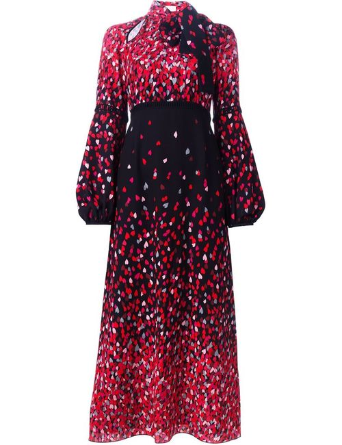 GIAMBA | Женское Чёрное Длинное Платье С Принтом Сердец