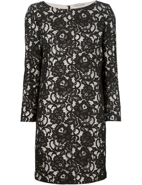 Saint Laurent | Женское Чёрное Платье Шифт С Цветочным Кружевом