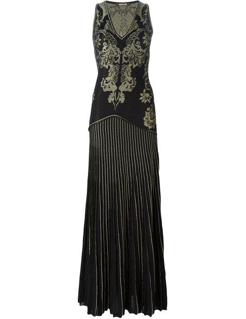 Roberto Cavalli | Женское Чёрное Вечернее Платье С Вышивкой