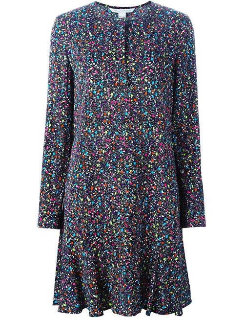 Diane Von Furstenberg | Женское Черный Платье В Крапинку С Длинными Рукавами