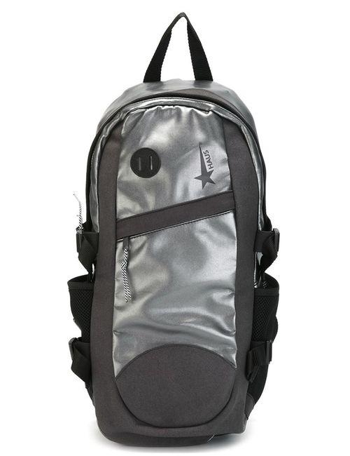 HAUS | Мужской Чёрный Рюкзак С Отделкой Металлик