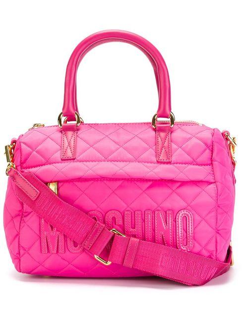 Moschino | Женская Розовая Стеганая Сумка С Логотипом