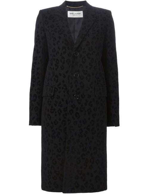 Saint Laurent | Женское Чёрное Жаккардовое Пальто С Леопардовым Узором