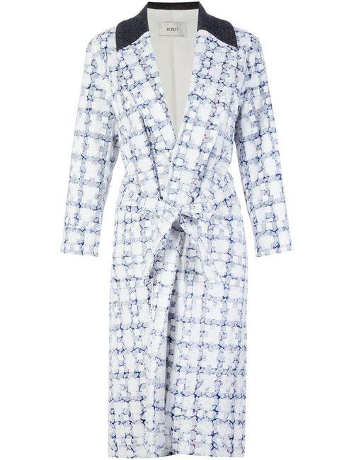 PONTI | Женское Белое Пальто В Клетку С Поясом